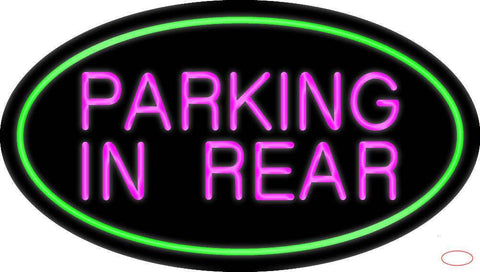 Parking In Rear Green Oval Real Neon Glass Tube Neon Sign