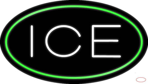 Oval Green Ice Real Neon Glass Tube Neon Sign