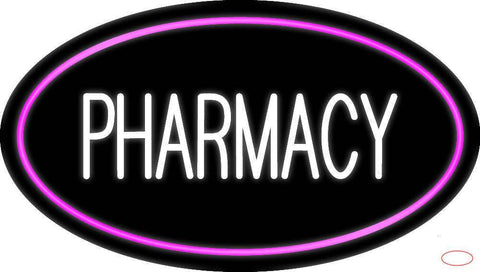 White Pharmacy Pink Oval Border Real Neon Glass Tube Neon Sign