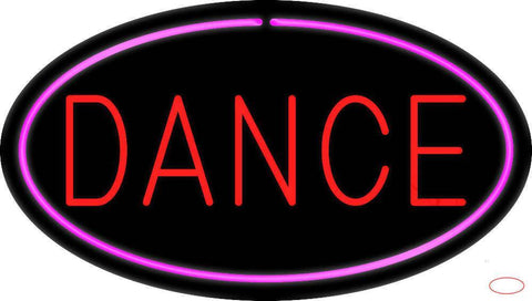 Red Dance Oval Pink Border Real Neon Glass Tube Neon Sign