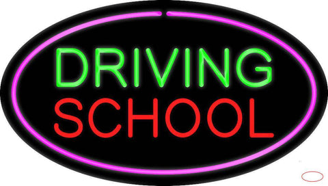 Driving School Purple Oval Real Neon Glass Tube Neon Sign