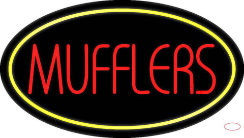 Mufflers Yellow Oval Real Neon Glass Tube Neon Sign