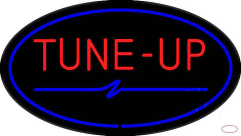 Tune-Up Blue Oval Real Neon Glass Tube Neon Sign