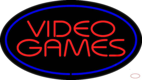 Video Games Oval Blue Real Neon Glass Tube Neon Sign