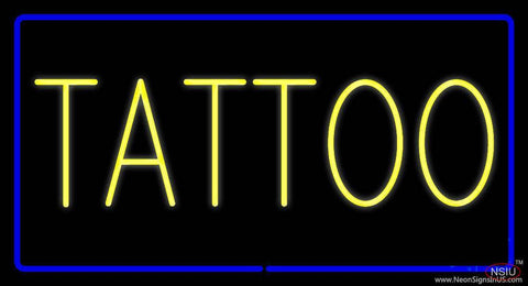 Yellow Tattoo Blue Border Real Neon Glass Tube Neon Sign