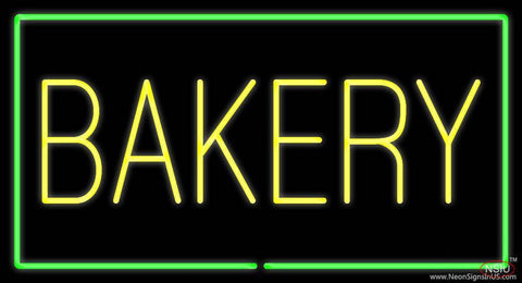 Yellow Bakery Rectangle Green Real Neon Glass Tube Neon Sign