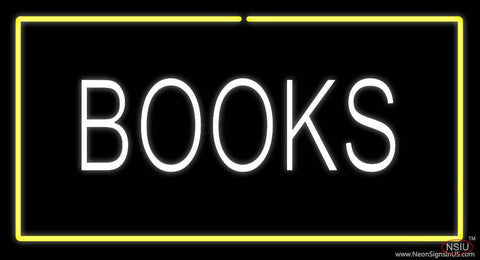 Books Yellow Border Real Neon Glass Tube Neon Sign