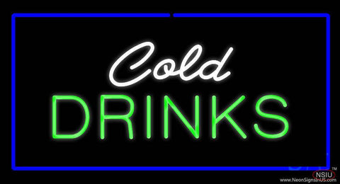 Cold Drinks Rectangle Blue Real Neon Glass Tube Neon Sign