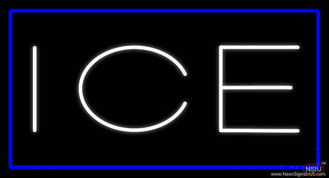 White Ice Blue Border Real Neon Glass Tube Neon Sign