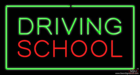 Driving School Green Rectangle Real Neon Glass Tube Neon Sign
