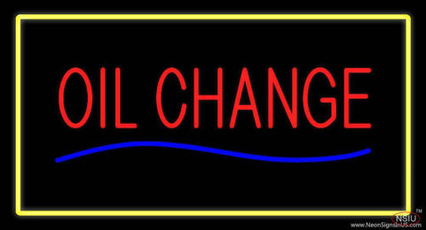 Oil Change Yellow Rectangle Real Neon Glass Tube Neon Sign