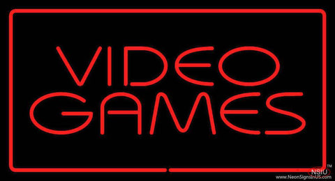 Video Games Rectangle Red Real Neon Glass Tube Neon Sign