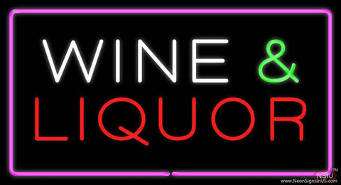 Wine and Liquor Rectangle Purple Real Neon Glass Tube Neon Sign