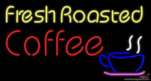 Yellow Fresh Roasted Coffee Real Neon Glass Tube Neon Sign