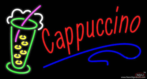 Red Cappuccino Logo Real Neon Glass Tube Neon Sign