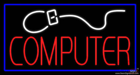 Computer with Logo Blue Border Real Neon Glass Tube Neon Sign