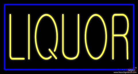 Yellow Liquor Blue Border Real Neon Glass Tube Neon Sign