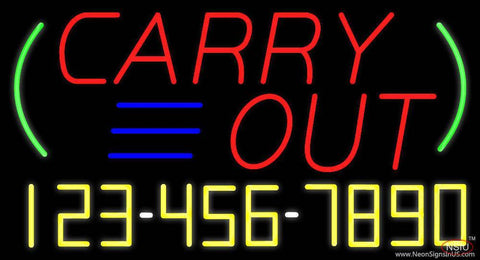 Carry Out with Phone Number Real Neon Glass Tube Neon Sign