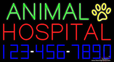 Animal Hospital with Phone Number Real Neon Glass Tube Neon Sign