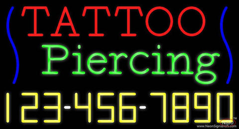 Tattoo Piercing with Phone Number Real Neon Glass Tube Neon Sign
