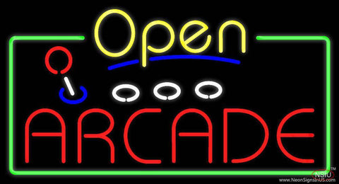 Yellow Open Red Arcade Real Neon Glass Tube Neon Sign