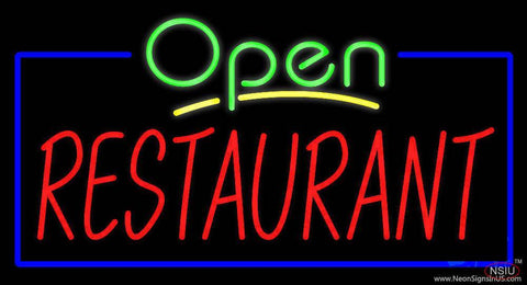 Green Open Restaurant Blue Border Real Neon Glass Tube Neon Sign