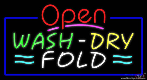 Open Wash Dry Fold Blue Border Real Neon Glass Tube Neon Sign