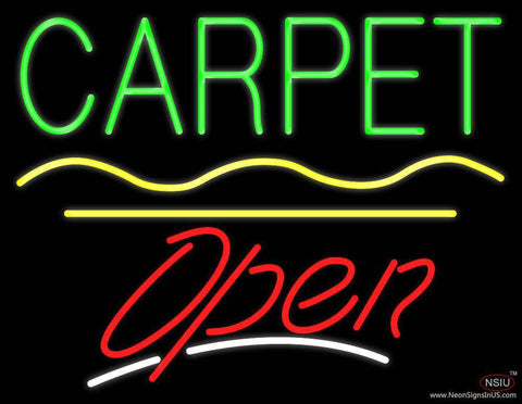 Carpet Script Open Yellow Line Real Neon Glass Tube Neon Sign
