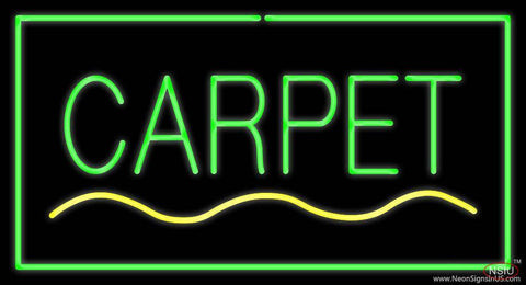 Carpet Rectangle Green Real Neon Glass Tube Neon Sign