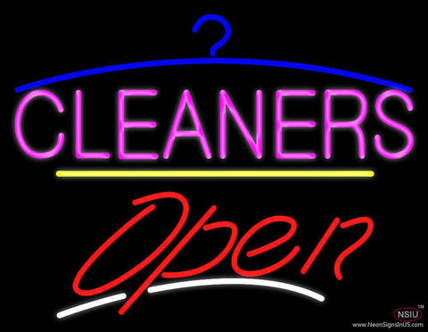 Cleaners Logo Open Yellow Line Real Neon Glass Tube Neon Sign