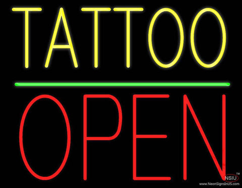 Yellow Tattoo Block Open Green Line Real Neon Glass Tube Neon Sign
