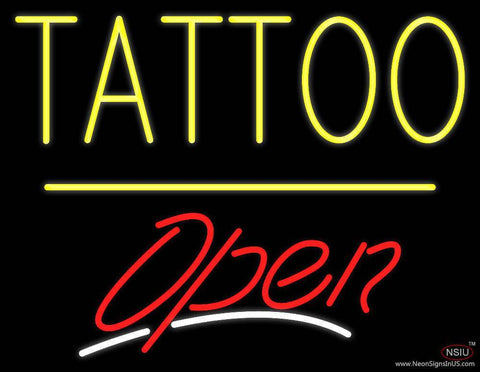 Tattoo Open Yellow Line Real Neon Glass Tube Neon Sign