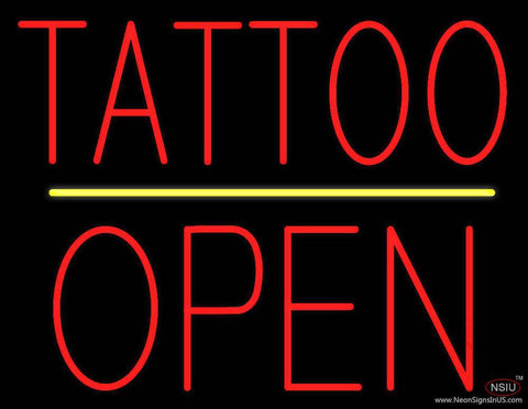 Tattoo Block Open Yellow Line Real Neon Glass Tube Neon Sign
