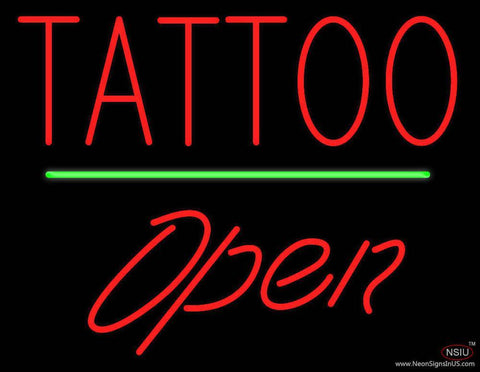 Tattoo Open Green Line Real Neon Glass Tube Neon Sign