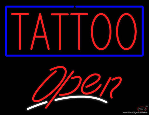 Tattoo with Blue Border Open Real Neon Glass Tube Neon Sign