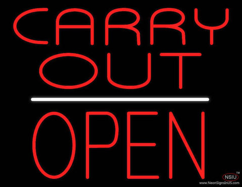 Carry Out Block Open White Line Real Neon Glass Tube Neon Sign