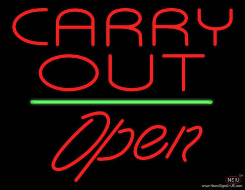 Carry Out Open Green Line Real Neon Glass Tube Neon Sign