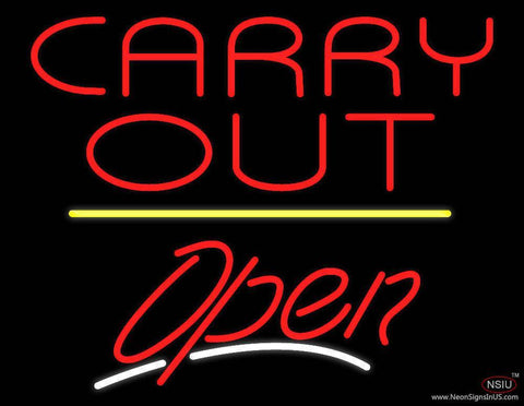 Carry Out Open Yellow Line Real Neon Glass Tube Neon Sign
