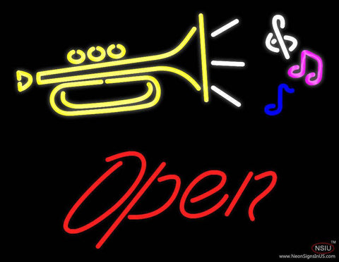 Trumpet Logo Open Real Neon Glass Tube Neon Sign