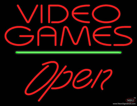 Video Games Open Green Line Real Neon Glass Tube Neon Sign