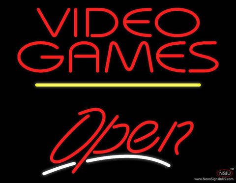 Video Games Open Yellow Line Real Neon Glass Tube Neon Sign