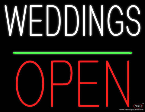 Weddings Block Red Open Green Line Real Neon Glass Tube Neon Sign