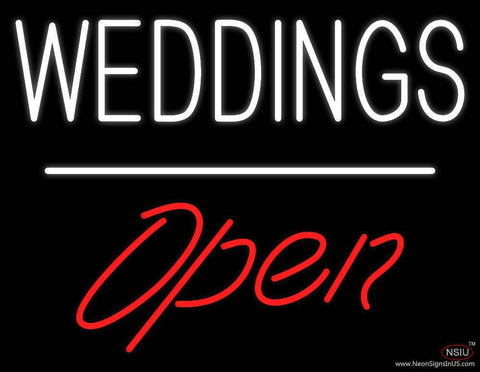 Weddings Open White Line  Real Neon Glass Tube Neon Sign
