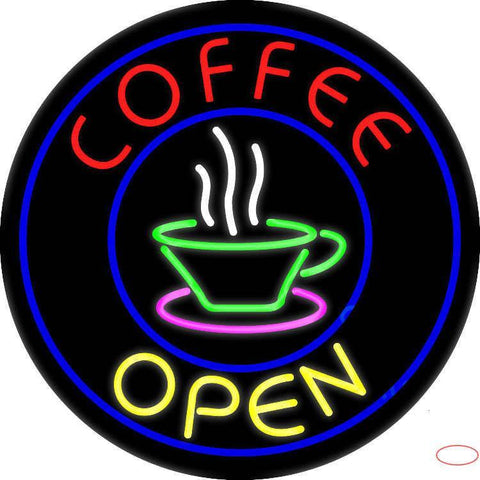 Round Red Coffee Open Yellow Real Neon Glass Tube Neon Sign