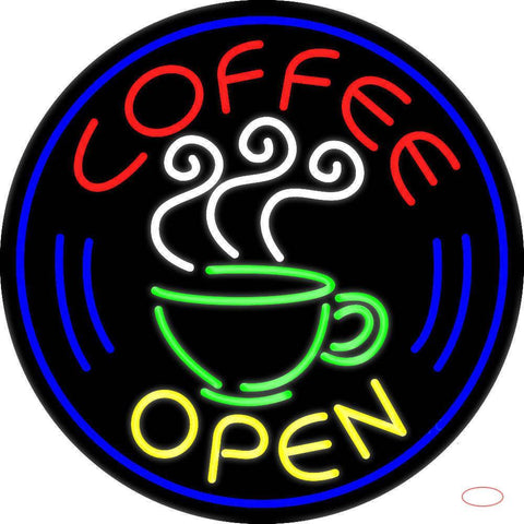 Round Coffee Open Real Neon Glass Tube Neon Sign