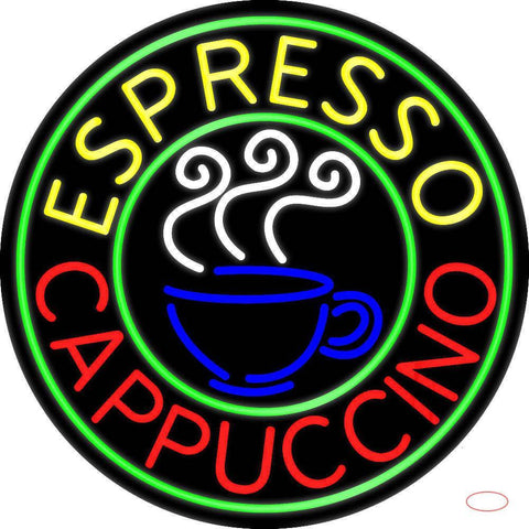 Round Espresso Cappuccino Real Neon Glass Tube Neon Sign