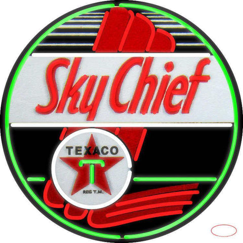 Texaco Sky Chief Gasoline Real Neon Glass Tube Neon Sign