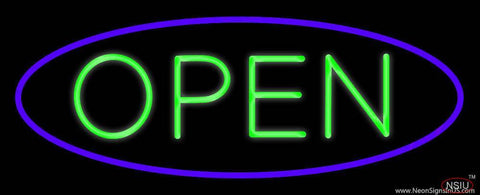 Green Open With Purple Oval Border Real Neon Glass Tube Neon Sign