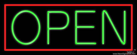 Green Open With Red Border Real Neon Glass Tube Neon Sign