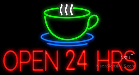 Open 24 Hours Coffee Cup Neon Sign